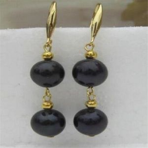 NWOT 14k-Over Sterling Silver Black Pearl Earrings